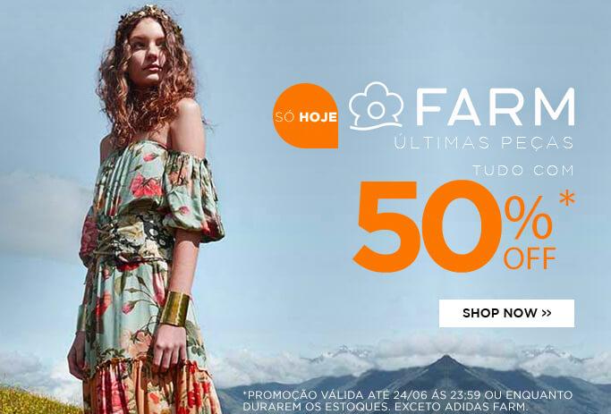 Banner - Farm tudo com 50%OFF