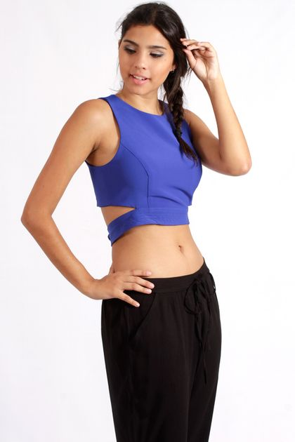 Top Cropped Azul Royal
