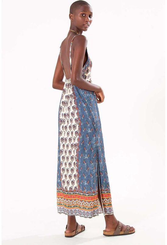 Vestido longo jardim oriental azul