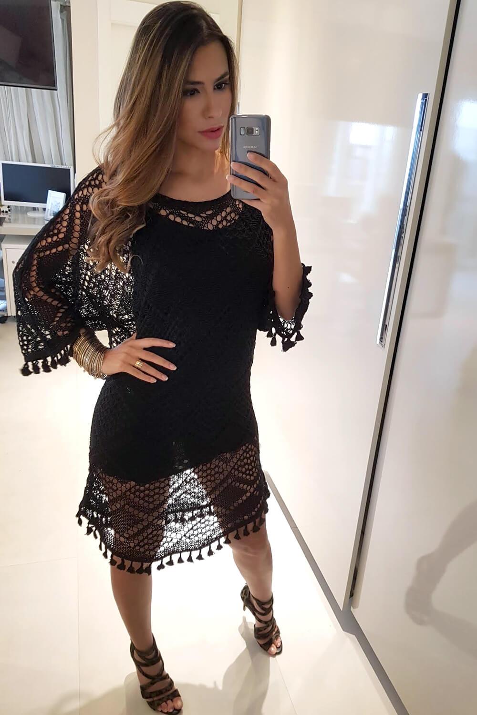 Vestido de tricot preto