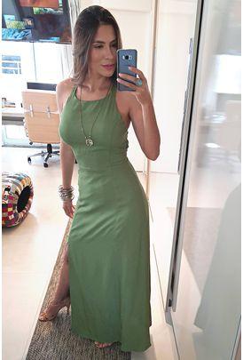 0843e1765 Vestido Longo Babados - Vestidos Vestido Longo Verde – BabadoTop