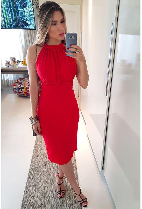 Vestido Curto Morena Rosa Decote Redondo Abertura Costas