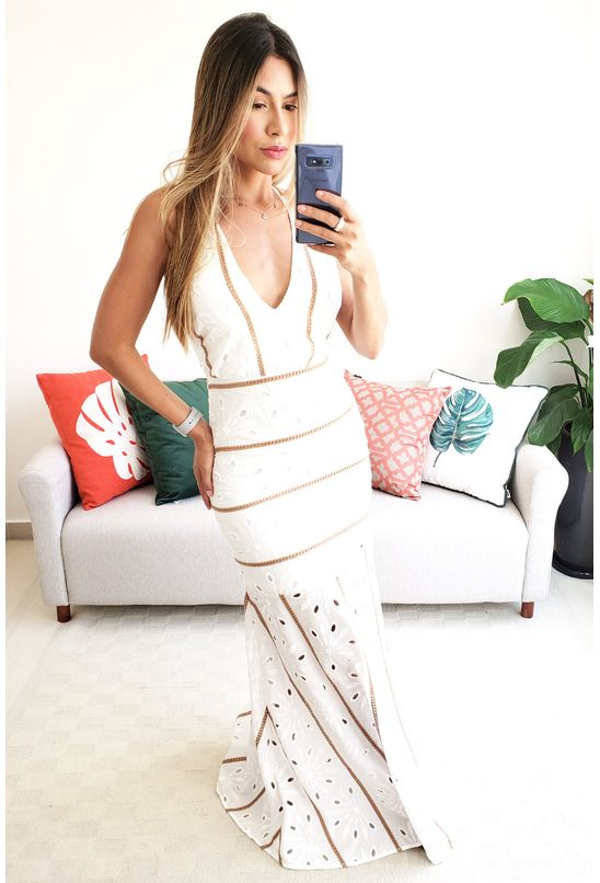 Vestido Longo Colcci Bordado Decote V Laise Branco Babadotop